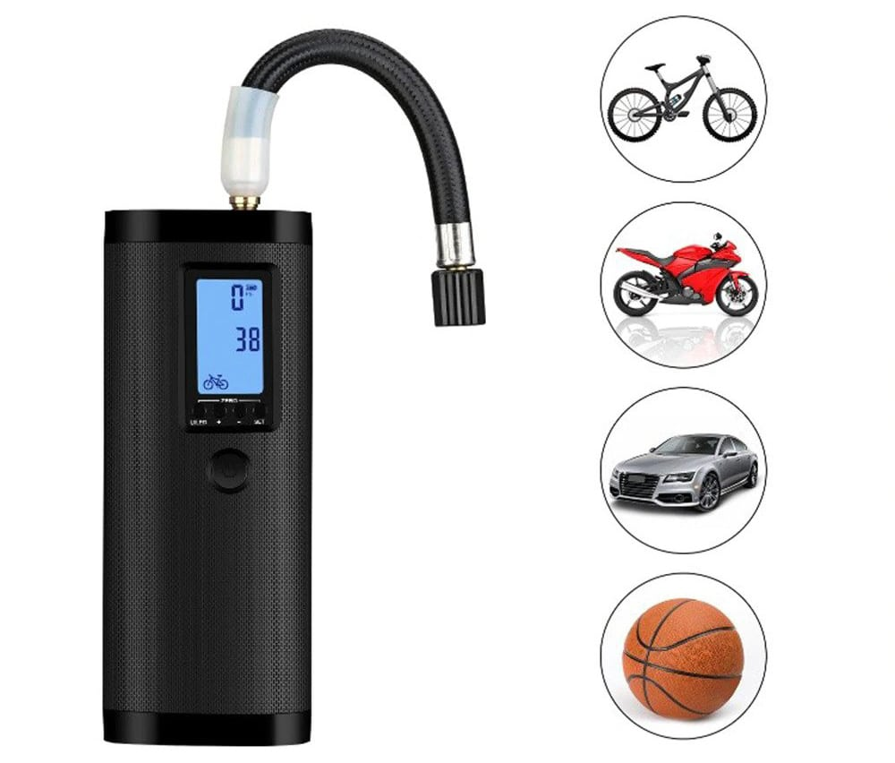 Acutty Air Pump Electric Compressor 12V LED Smart Electric Tire Pumps LCD Display Bicycle Car Wireless Tyre Air Pumps for All Kinds of Bicycles Car Motorcycle and Other Balls Swim Ring
