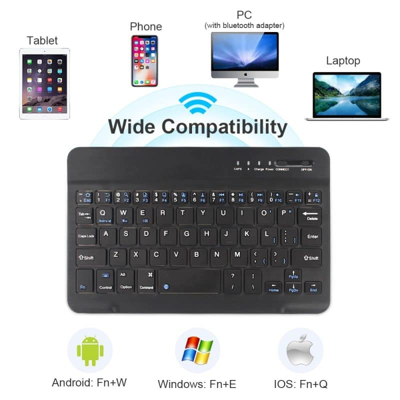 Mini Wireless Keyboard Bluetooth Keyboard For ipad Phone Tablet Rubber keycaps Rechargeable keyboard For Android ios Windows 10