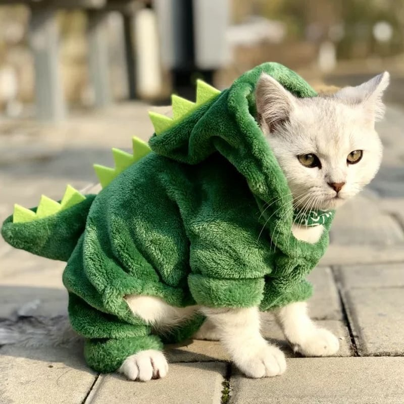 Snailhouse Hot Sale Pet Cat Clothes Funny Dinosaur Costumes Winter Warm Plush Cat Coat Small Cat Kitten Hoodie Puppy Dog Clothes 14