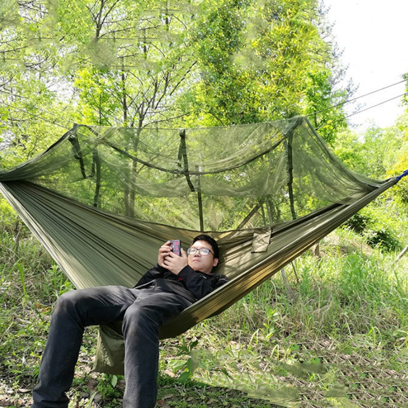 1-2 Person Portable Outdoor Camping Hammock with Mosquito Net High Strength Parachute Fabric Hanging Bed Hunting Sleeping Swing 25