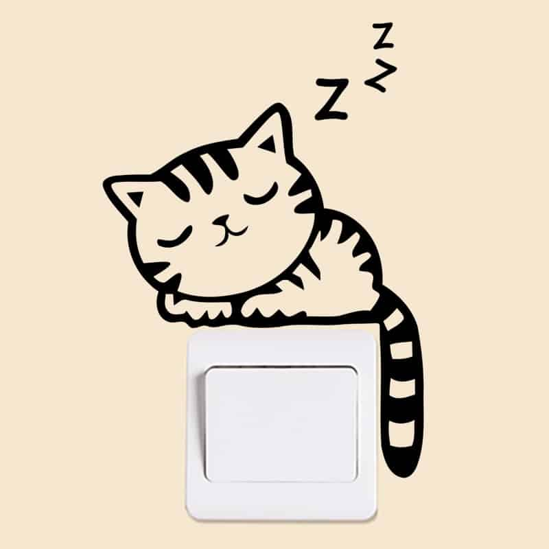XXYYZZ DIY funny Cute Sleeping Cat Dog Switch Stickers Wall Stickers Decal Home Decoration Bedroom Living Room Parlor Decoration 36