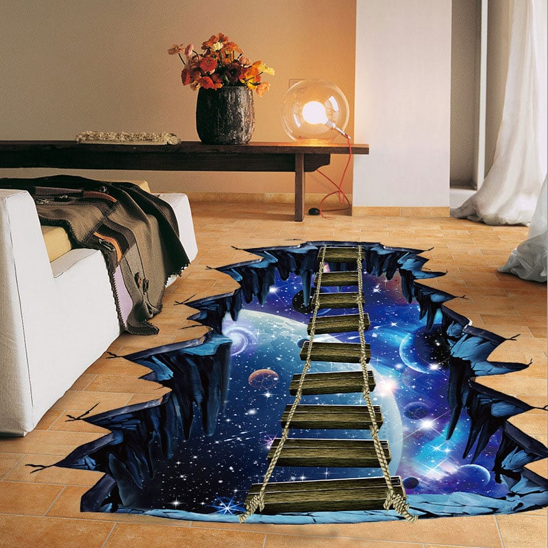 NEW Large 3d Cosmic Space Wall Sticker Galaxy Star Bridge Home Decoration for Kids Room Floor Living Room Wall Decals Home Decor 16