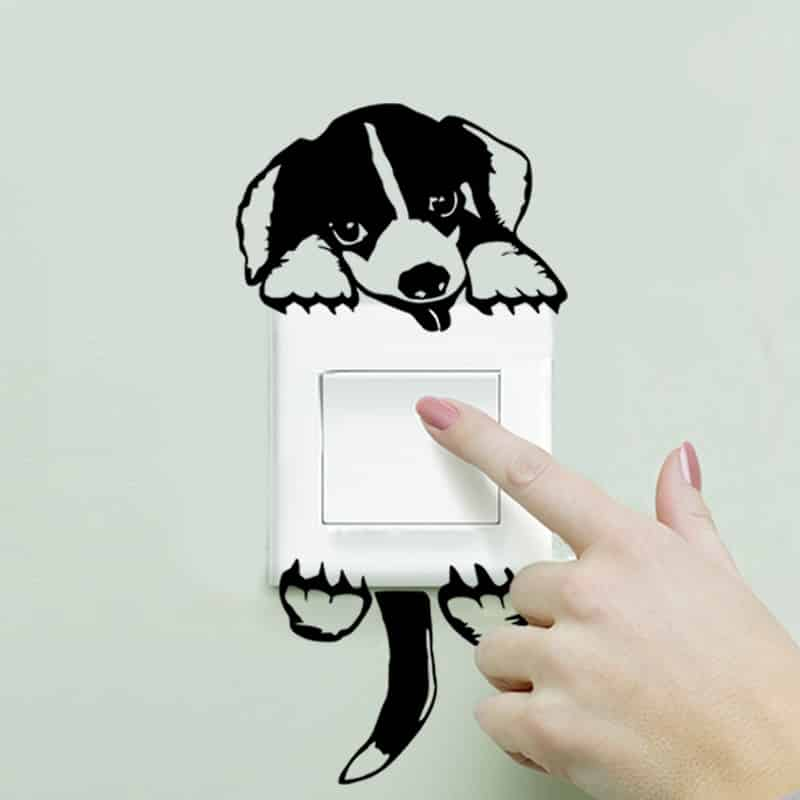 XXYYZZ DIY funny Cute Sleeping Cat Dog Switch Stickers Wall Stickers Decal Home Decoration Bedroom Living Room Parlor Decoration 39